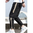Guys Street Trendy Colorblock Patched Side Drawstring Waist Elastic Cuffs Tapered Track Pants