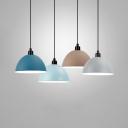 Domed Living Room Hanging Light Metal 1 Light Macaron Loft Pendant Light in Blue/Gray/Khaki/Light Blue