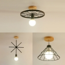 Rotatable Industrial Flush Mount Light with Cone/Sputnik/Wheel Metal 1 Bulb Black Ceiling Lamp for Bedroom