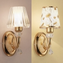 Crystal/Fabric Tapered Shade Wall Light 1 Head Traditional Wall Lamp in Gold for Hotel Office