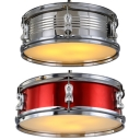 Metal Drum Shaped Pendant Light Industrial Style Chandelier in Red/Silver for Living Room Bar