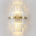 Crystal Shade Dining Room Sconce Lamp Metal Contemporary Sconce Light in Gold Finish