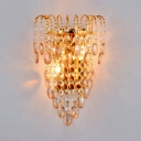 Metal Candle Sconce Light with Crystal Decoration 2 Heads Modern Stylish Wall Light in Gold for Hotel
