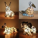 Bird/Elephant/Horse/Rabbit Night Light Art Glass 1 Light Tiffany Lovely White Table Lamp for Girl Bedroom