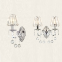 1/2 Heads Candle Sconce Light with Crystal Luxurious Metal Wall Lamp in Chrome for Living Room