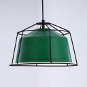 Kitchen Barn Shade Pendant Light Metal 1 Light Nordic Stylish Green Hanging Lamp with Wire Frame