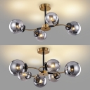 Globe Restaurant Kitchen Chandelier Gray Glass 4/6 Lights Contemporary Pendant Light in Gold