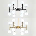 Modern Spherical Shape Chandelier Opal Glass Black/Gold Hanging Light for Living Room Foyer