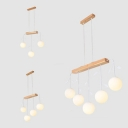 Restaurant Kitchen Sphere Island Pendant Milk Glass 3/4/5 Lights Modern White Hanging Light with Leaf