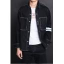Mens Simple Stripe Long Sleeve Contrast Piping Casual Black Work Denim Jacket