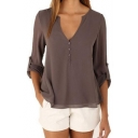 Popular Simple Plain Button V-Neck Long Sleeve Coffee Chiffon Blouse