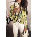 Summer Chic Green Floral Printed V-Neck Long Sleeve Loose Blouse Top