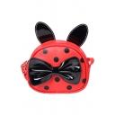 Cute Cartoon Polka Dot Printed Bow Embellishment Mini Round Crossbody Bag 16*5.5*14 CM