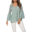 Summer Green Hollow Out Flared Sleeve V-Neck Button Down Loose Fit Shirt Blouse