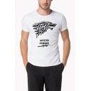 Popular Stark Wolf Head Print Round Neck Short Sleeve White T-Shirt