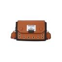 New Fashion Letter Patchwork Button Hole Embellishment Striped Strap Square Crossbody Shoulder Bag 21*14*7 CM