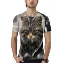 Trendy 3D Cat Printed Round Neck Short Sleeve Grey T-Shirt