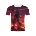 Summer Stylish 3D Fire Monster Printed Round Neck Short Sleeve Casual Tee