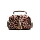 Trendy Leopard Pattern Tassel Embellishment Boston Handbag Satchel Messenger Bag 21*15*9 CM