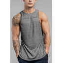 Mens Summer Casual Loose Simple Solid Color Round Neck Sleeveless Training Sport Tank Top