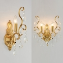 Metal Candle Wall Sconce with Clear Crystal 1/2 Lights Traditional Sconce Lamp in Gold for Cafe