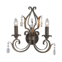 Candle Dining Room Sconce Light with Clea Crystal Iron 2 Lights American Rustic Wall Light