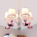 Nursing Room Tiger Chandelier Metal 5 Lights Cute Modern Pink Pendant Lamp with Tapered Shade