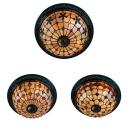 Vintage Flower/Grid/Heart Ceiling Mount Light Art Glass 4 Lights Ceiling Lamp for Restaurant