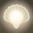 Milk Glass Shell Shaped Wall Light One Light Modern Style LED Sconce Light in White for Dining Room