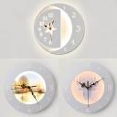 Living Room Circle Clock Wall Light Acrylic Creative White Finish LED Sconce Light with Warm Lighting
