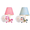Cartoon Carousel Wall Light 1 Light Fabric Sconce Light in Blue/Pink for Boys Girls Bedroom