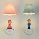 Fabric Dot Shade Wall Sconce with Kids Deco Child Bedroom 1 Light Cute Wall Light in Blue/Pink