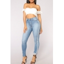 Womens Trendy Tape Patched Side High Waist Skinny Fit Jeans