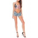 Summer Womens Sexy Hollow Out Destroyed Frayed Night Club Hot Pants Denim Shorts