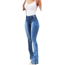 Womens Hot Popular Ripped Skinny Fit Flared Denim Jeans