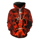 Cool Red Smog Comic Figure Print Long Sleeve Sport Loose Hoodie