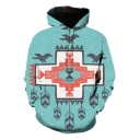 Cool Unique Cross Geometric Printed Blue Casual Sport Pullover Hoodie