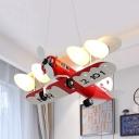 Metal Propeller Gilder Pendant Light Living Room Four Lights Modern Cool Hanging Light in Red