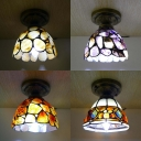 Single Bulb Dome Ceiling Light Tiffany Antique Glass Brown/Multi-Color/Purple/Yellow for Study Room