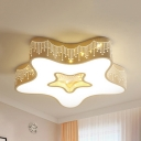 Metal Flower/Moon/Starfish Ceiling Lamp Cartoon Stepless Dimming/Warm/White LED Flush Mount Light in White for Teen