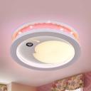 Smiling Crescent Kid Bedroom Ceiling Mount Light Acrylic Creative Warm/White Lighting LED Flush Light
