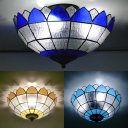 Domed Balcony Ceiling Mount Light Art Glass 3 Lights Traditional Ceiling Lamp in Blue/Sky Blue/Yellow