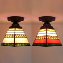 Pink/Orange Craftsman Flush Mount Light 1 Bulb Tiffany Rustic Stained Glass Ceiling Light for Cafe