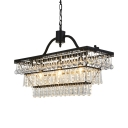 Vintage Style Black Hanging Lamp with Teardrop Crystal Rectangle Metal Chandelier for Villa