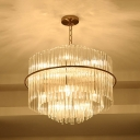 Clear Glittering Crystal Drum Pendant Light Living Room 8 Lights Romantic Chandelier in Gold