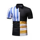 Summer Stylish Color Block Striped Print Short Sleeve Slim Polo Shirt