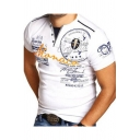 Mens Fashion Letter Printed Button V-Neck Short Sleeve Slim Fitted Henley Shirt