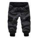 Simple Fashion Color Block Drawstring Waist Men's Casual Sport Sweat Shorts