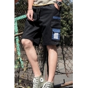 Simple Fashion Contrast Flap Pocket Side Drawstring Waist Casual Cargo Shorts