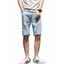 Men's Fashion Popular Destroyed Ripped Solid Color Denim Shorts